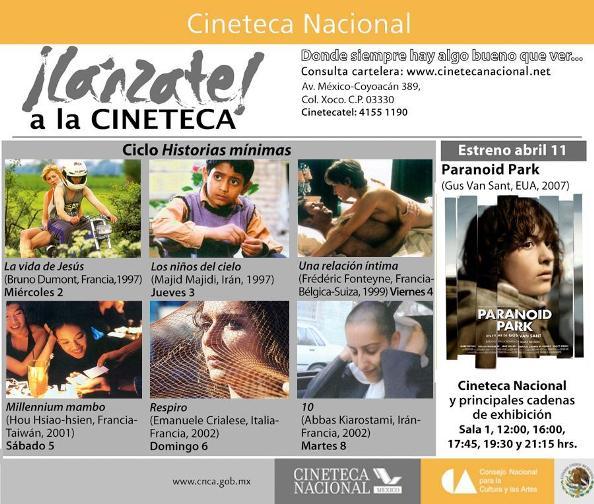 CARTELERA CINETECA NACIONAL DEL 20 AL 24 DE FEBRERO