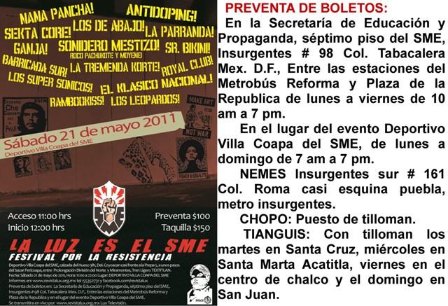 """""""FESTIVAL POR LA RESISTENCIA SME"""""""