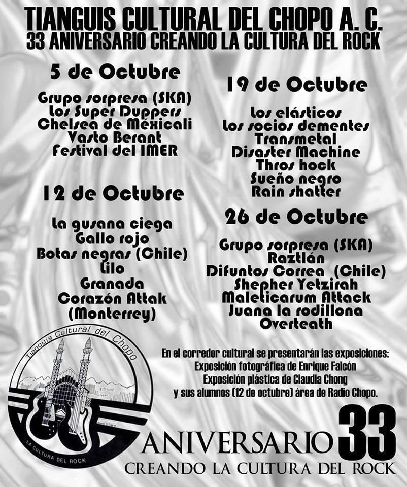 ACTIVIDADES DEL 33 ANIVERSARIO DEL CHOPO