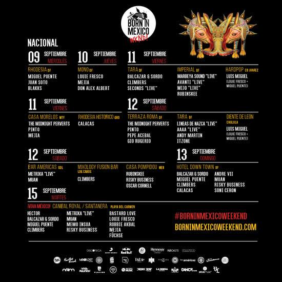 BORN IN MEXICO WEEKEND del 8 al 15 de septiembre