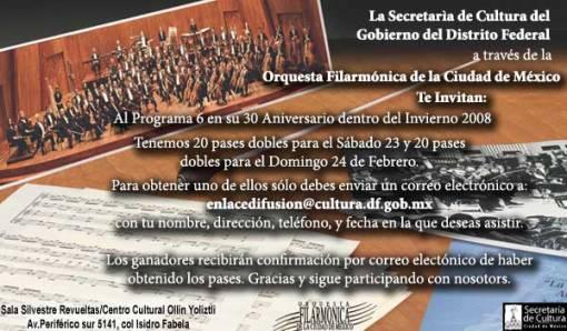 PROGRAMA DE LA ORQUESTA FILARMONICA DE LA CIUDAD DE MÉXICO