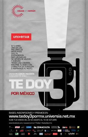 CONCURSO DE VIDEO TE DOY 3 POR MÉXICO