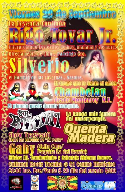 Festival AlternakitoRigo Tovar Jr, Silverio, Chambelán,Sr Bikini y Quema Madera,