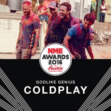 COLDPLAYRecibirá el premio 'GODLIKE GENIUS' en los NME Awards, Coldplay recibirá el Godlike Genius en los NME AWARDS 2016, Coldplay serán reconocidos en los NME AWARDS en Austin Texas