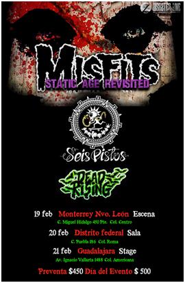 MISFITSGira por México 2016, Los Misfits regresan a México en el 2016, Misfits Gira por Monterrey D.F. y Guadalajara,  Seis Pistos acompañarán a los Misfits en Gira por México 2016