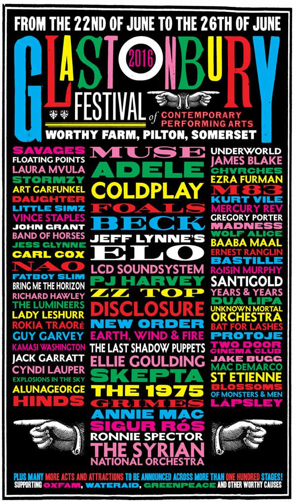 GLASTONBURY 2016Anuncia el cartel, Cartel de Glastonbury 2016, Line-up Glastonbury 2016, Muse y Coldplay en el Glastonbury 2016