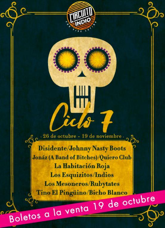 CIRCUITO INDIO Ciclo 7 listo a comenzar con grandes bandas latinoamericanas, Circuito Indio, ciclo 7, habitación roja, caligaris, no te va a gustar, disidente, los mesoneros, quiero club, vive latino