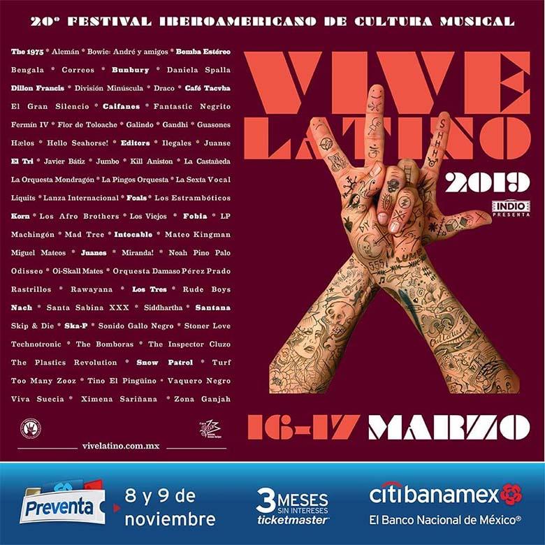 VIVE LATINO 2019EDITORS filtra el CARTEL OFICIAL, Vive Latino 2019, Vive Latino XX, Editors, El Tri, Café Tacvba, Caifanes, Bunbury, El Gran Silencio, Fobia, Los Tres, The 1975, Foals, Korn, Snow Patrol, Santana, Carlos Santana, Guasones, Miranda!, División Minúscula, Juanse, Intocable, Ska-P