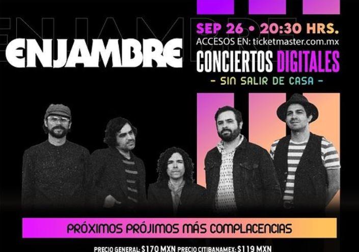 ENJAMBREOfrecerá su primer concierto vía streaming y será IRREPETIBLE, Enjambre en Ticketmaster Live