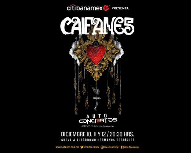 CAIFANESOfrecerá tres auto-conciertos en la CDMX en diciembre, Auto conciertos de Caifanes en la ciudad de méxico