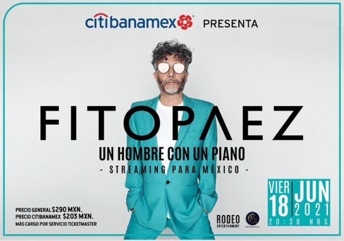 FITO PAEZOfrecerá un excelso y pletórico viaje sonoro, a voz y piano, vía streaming el 18 de junio, FITO PAEZ en show streaming para ticketmaster live 18 de junio