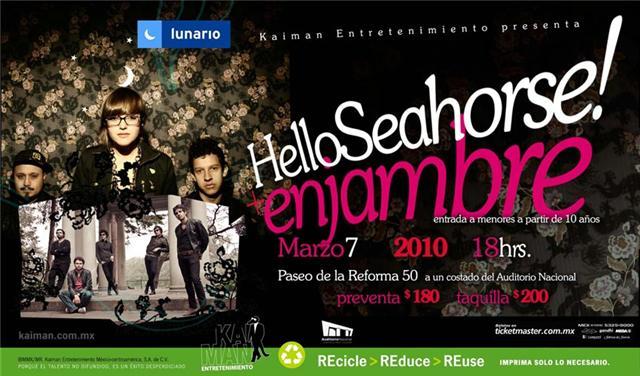 ENJAMBRE Y HELLO SEAHORSELunario del Auditorio - 7 Marzo,