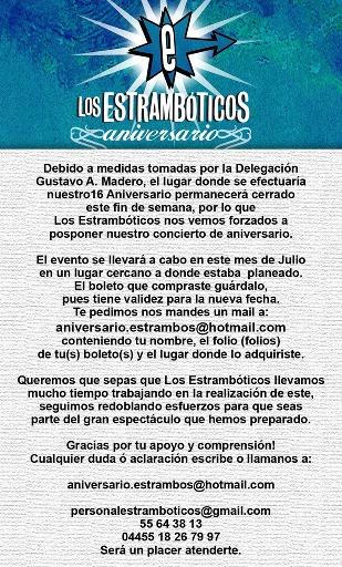 ANIVERSARIO ESTRAMBOTICOSEn el Sato Club el 4 de Julio - CANCELADO