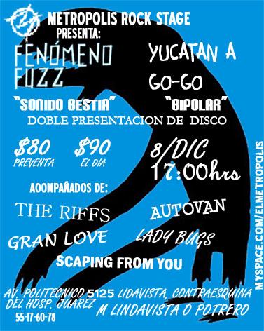 GANADORES DE PASES FENOMENO FUZZ Y YUCATAN AGOGOEn el Metropolis - 8 de Diciembre