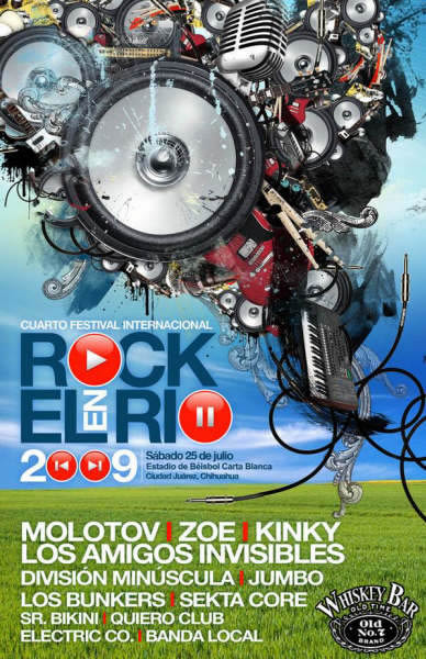 ROCK EN EL RIO 2009Molotov, Zoe, Kinky y mas.. 25 Julio Cd. Juárez,