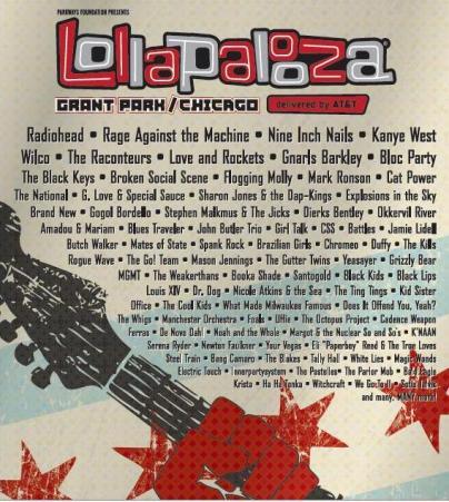 LOLLAPALOOZACartel Oficial  encabezado por Radiohead,