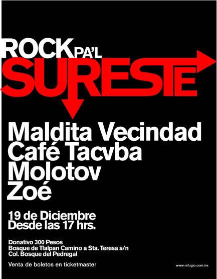 ROCK PA'L SURESTECafe Tacvba, Zoé y más en concierto a Beneficio - 19 Dic,