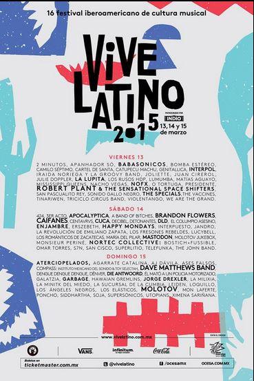 VIVE LATINO 2015Cartel - 16va edición,