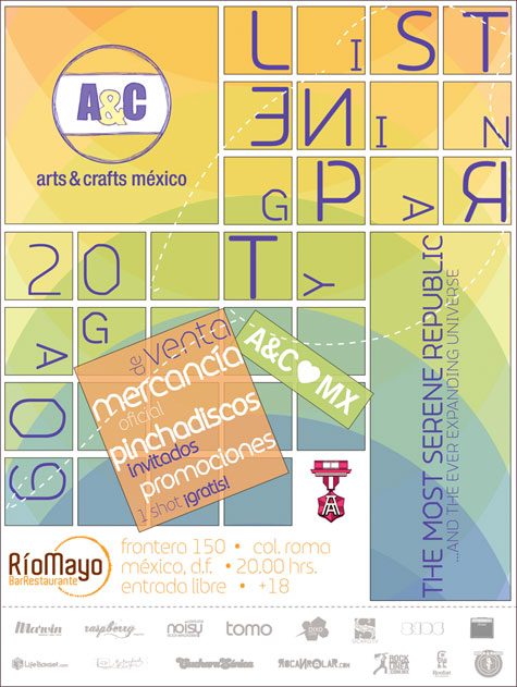 ARTS & CRAFTS LISTENING PARTY20 de Agosto,