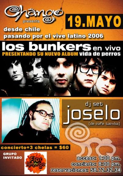 Los Bunkers y JoseloCentro de espectáculos Chango
