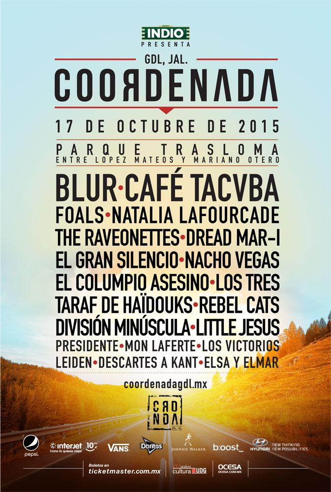 FESTIVAL COORDENADA2da edición presenta a Blur, Foals, Café Tacvba y más - Horarios, BLUR en Guadalajara, Foals en Guadalajara, Festival Coordenada segunda edición, Bandas que se presentan en el Festival Coordenada,  Festival Coordenada 17 de Octubre 2015