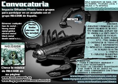 CONVOCATORIA BANDAS DE METAL Impacto Difusión Music