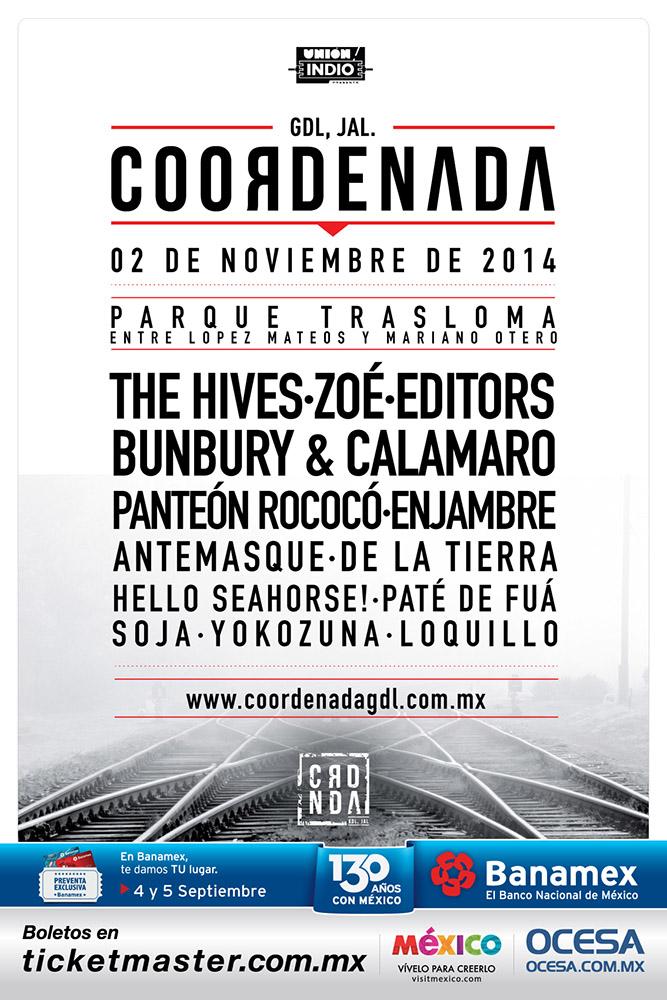 COORDENADAThe Hives, Editors, Zoé y más - 2 Nov - Gdl, Jal.,