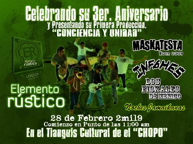 ELEMENTO RUSTICOPresentacion de su primer LP, Sabado 28 en el Chopo