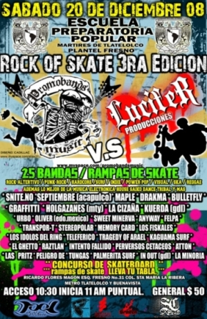 ROCK OF SKATE 3ra EDICION SABADO 20, PREPA FRESNO,