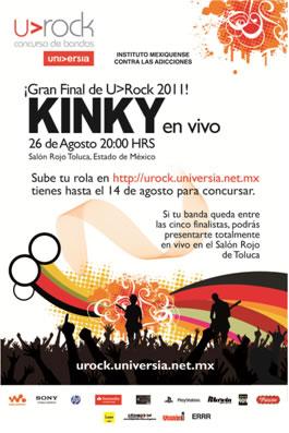 GANADORES  BOLETOS PARA KINKYFinal U>ROCK - 26 Agosto - Toluca