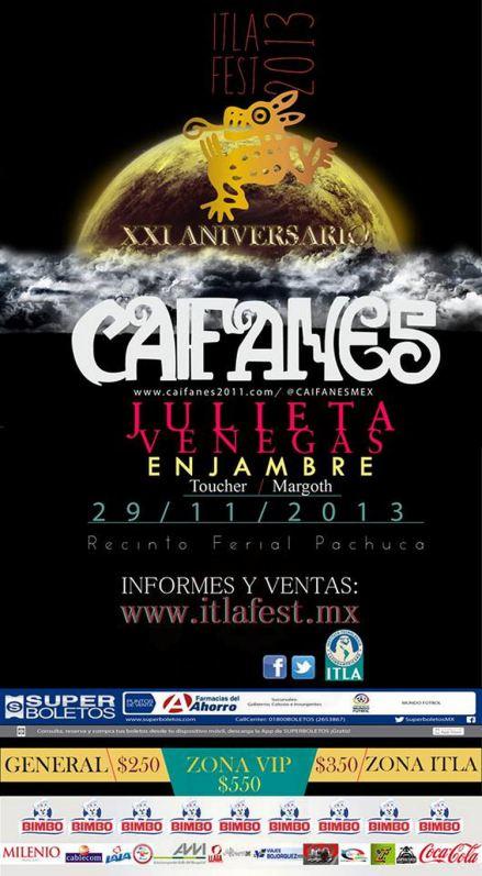 ITLA FESTCaifanes, Julieta Venegas, Enjambre - 29 Nov en Pachuca,