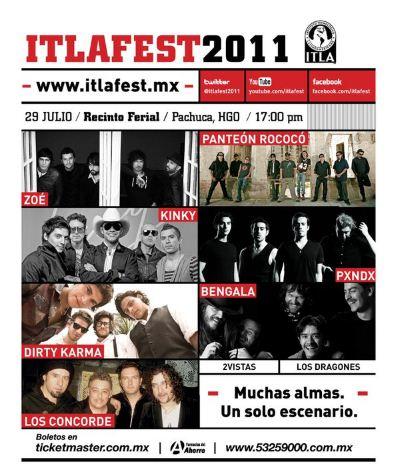 ITLA FEST 2011ZOÉ, PANDA, PANTEÓN ROCOCÓ y más - 29 Julio,