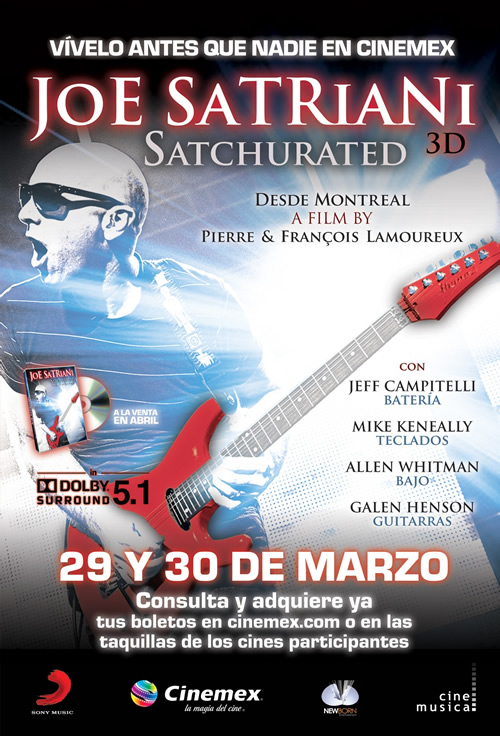 JOE SATRIANI SATCHURATEDEstreno 29 y 30 de Marzo en Cinemex
