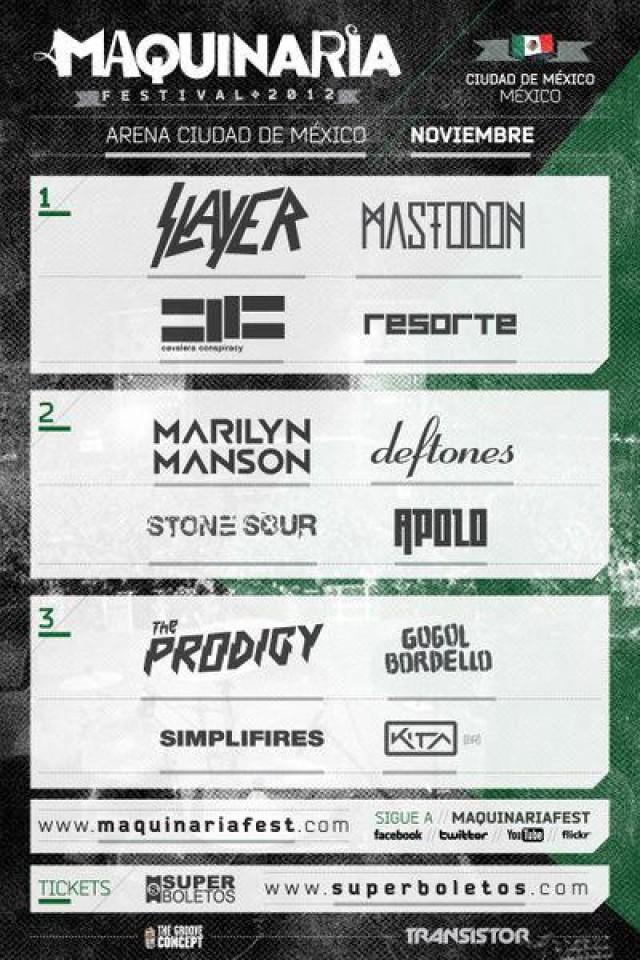 MAQUINARIA FESTSlayer, Marilyn Manson, Deftones, y más. 1,2, y 3 de Noviembre,