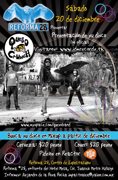 QUESO CRUNCHPresentación Disco - 20 de Diciembre - Reforma 28