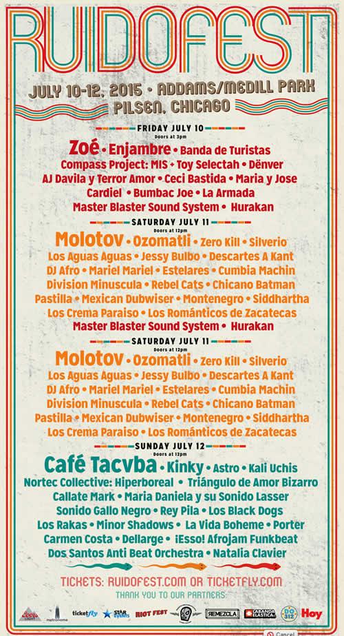 RUIDO FEST 2015Café Tacuba, Molotov, Zoé y más en Chicago,