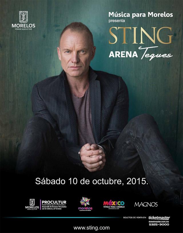 STING REGRESA A MEXICO10 de Octubre presentado por Müsica para Morelos, STING en México, Regresa Sting a México, Sting se presentará en Tequesquitengo,  Música para Morelos presenta a Sting