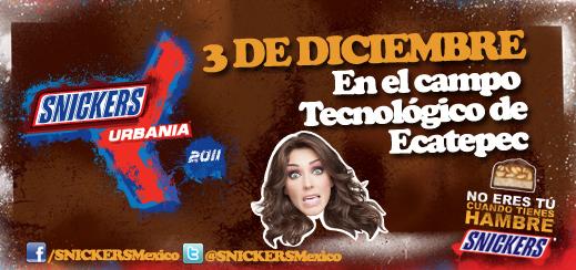 SNICKERS URBANIA3 Diciembre - Técnologico Ecatepec - Horarios,