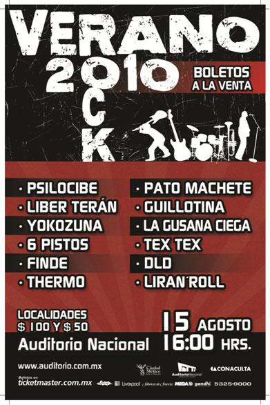 ROCK VERANO 2010Auditorio Nacional - 15 de Agosto - CANCELADO,