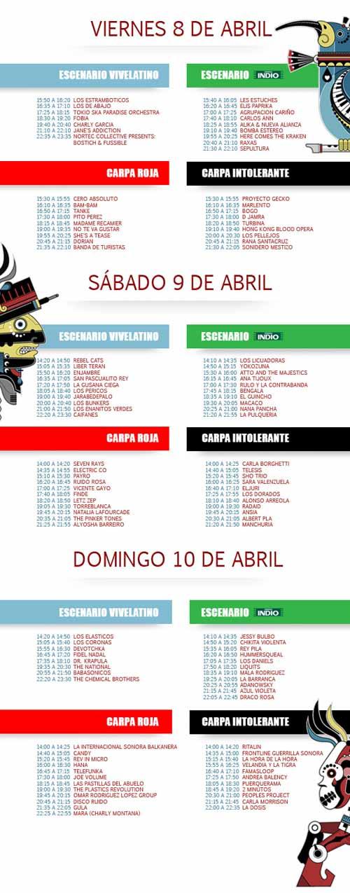 VIVE LATINO 2011Escenarios y Horarios por Día